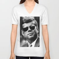 jfk V-neck T-shirts featuring BE COOL - JFK by Johnny Late Night Designs ॐ