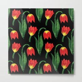 Hand painted orange yellow green watercolor tulips pattern Metal Print