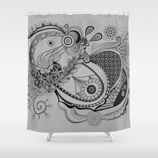 Ornate spring tangle, charcoal grey Shower Curtain