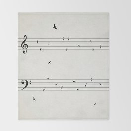 Music Score with Birds Throw Blanket
