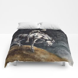 Skeleton Riding a Pale Horse Comforters