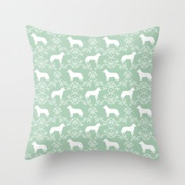 Australian Cattle Dog minimal floral silhouette pattern mint and white dog art Throw Pillow
