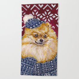 Pomeranian in a Hat and Scarf Beach Towel