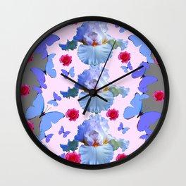 ROSES PASTEL IRISES BLUE-PURPLE BUTTERFLIES ABSTRACT Wall Clock