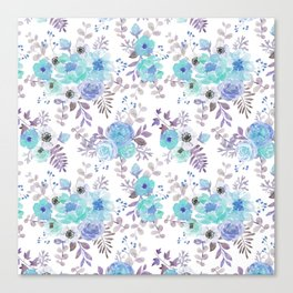 Lilac teal blue hand painted watercolor floral Canvas Print