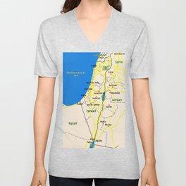 Israel Map design Unisex V-Neck
