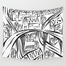 Town Circled By Roads Wall Tapestry