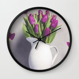 Levitating purple tulips against old concrete background Wall Clock