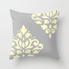 Scroll Damask Art I Yellow on Grey Throw Pillow