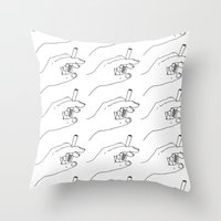 cigarette Throw Pillows featuring Cigarette Smoker by Katie Rosealea