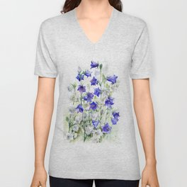 Bluebells watercolor flowers, aquarelle bellflowers Unisex V-Neck