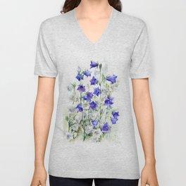 Bluebells watercolor flowers, aquarelle bellflowers Unisex V-Neck