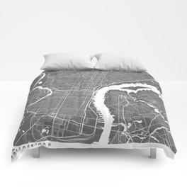 Philadelphia USA Modern Map Art Print Comforters