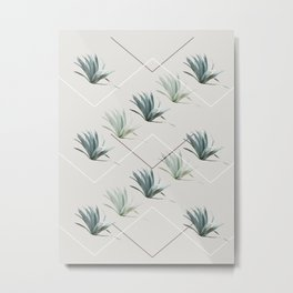 Succulents with Chevrons Metal Print