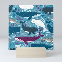 Vector seamless pattern with whales Mini Art Print