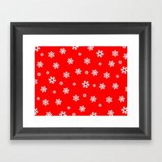 Snowflakes (White on Red) Framed Art Print