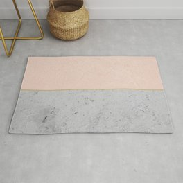 Soft Peach Meets Light Gray Concrete #1 #decor #art #society6 Rug