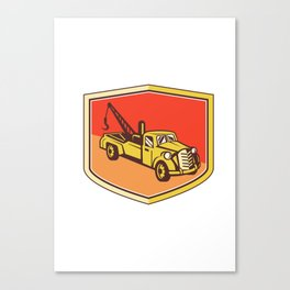Vintage Tow Truck Wrecker Shield Retro Canvas Print