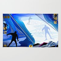 skiing Area & Throw Rugs featuring Cross Country Skiing by Robin Curtiss