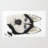 husky Area & Throw Rugs featuring Husky Siberian by Sourire Art