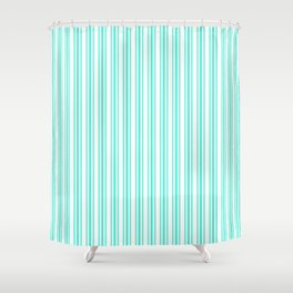 Trendy Large Aqua Gift Box Pastel Aqua French Mattress Ticking Double Stripes Shower Curtain