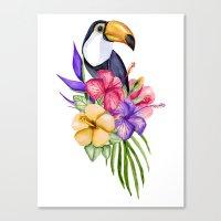 toucan Canvas Prints featuring Toucan by Julia Badeeva