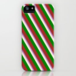 Vibrant Slate Gray, Orchid, Beige, Green, and Brown Colored Lines Pattern iPhone Case