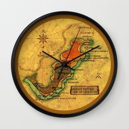 Map Mermaid Cabo de Gata Wall Clock