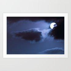 Moon Behind Cloud Art Print