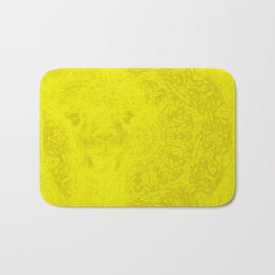 Ghostly buttercup yellow alpaca and mandala Bath Mat