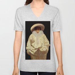 """""""Sarah Bernhardt as Pierrot"""" by Giuseppe De Nittis Unisex V-Neck"""