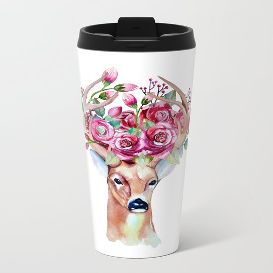 Shy watercolor floral deer Metal Travel Mug