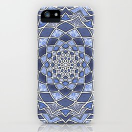 12-Fold Mandala Flower in Blue iPhone Case