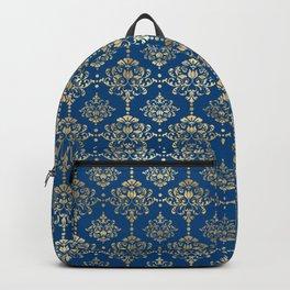 Elegant Blue and Gold Damask Pattern Backpack