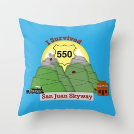 I Survived HWY 550 Durango to Silverton Throw Pillow