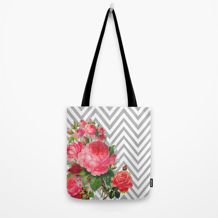 FLORAL CHEVRON Tote Bag