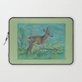 Little Roe on the spring meadow Wildlife Deer Pastel drawing Fawn Laptop Sleeve
