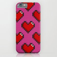 Knitted heart pattern - pink iPhone 6s Slim Case