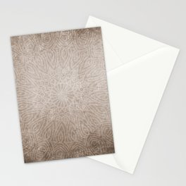Beautiful ethnic mandala on neutral rustic texture Stationery Cards