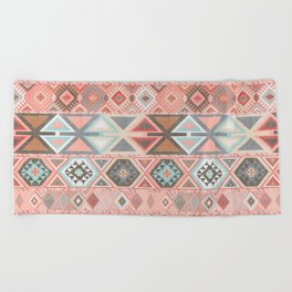 Aztec Artisan Tribal in Pink Beach Towel