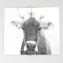 Cow black and white animal portrait Throw Blanket