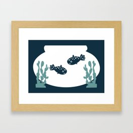 Two friendly fish together in a bowl - graphic Framed Art Print
