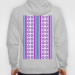 Geometric Vertical Stripes & Circles - White Purple Pink Blue Yellow Hoody