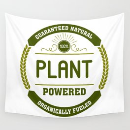 100% Plant Powered & Organically Fueled Green Badge Wall Tapestry