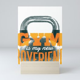 Gym Kettlebell Fitness graphic, Trending Workout Humor Design design Mini Art Print