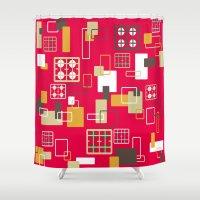 kitchen Shower Curtains featuring Retro kitchen by SqueakyAngel