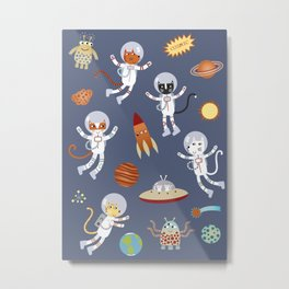 Space Cats Metal Print