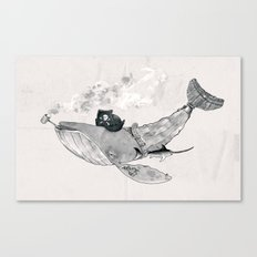 Pirate Whale (black/white option) Canvas Print