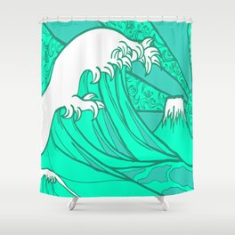 FRESH WAVE AND MOUNTAIN Shower Curtain