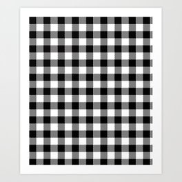 90's Buffalo Check Plaid in Black and White Art Print